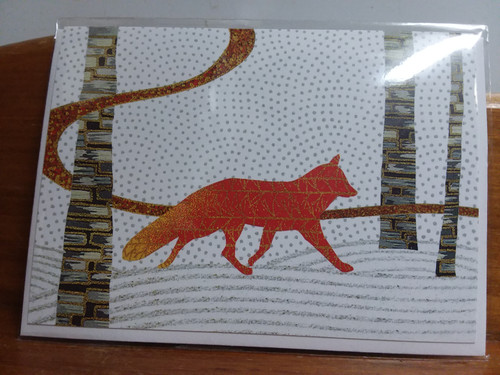 CARD, RED FOX IN SNOW, CARVE DESIGN