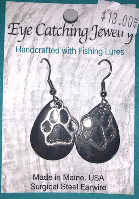 EARRINGS FISHING LURES with Dog Paw Charm