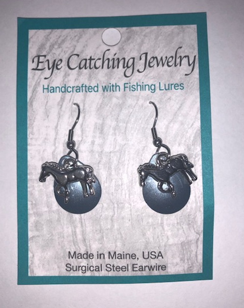 EARRINGS, FISHING LURES - Blue with Silver Horse