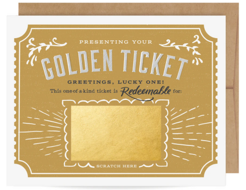 GIFT CARD, Golden Ticket Scratch-off Card, Inklings - 1 card
