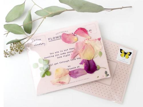 CARD, Flower-gram - Peony, Rose,  Hydrangea, Inklings - 1 card