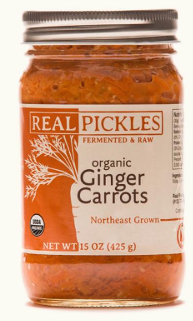 GINGER CARROTS, Organic, Real Pickles, 15 oz jar
