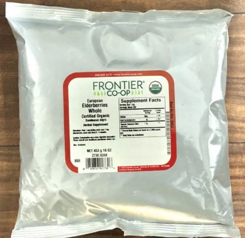 ELDERBERRIES, Whole ORGANIC, Frontier - 1 lb bag