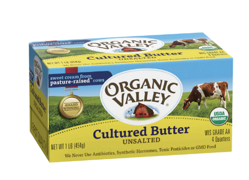 BUTTER, CULTURED, No Salt, Organic, 16 oz (4 quarters)