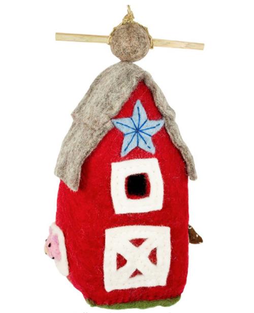 BIRD HOUSE, COUNTRY BARN Felt, Wild Woolies - 1 birdhouse