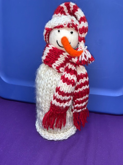 BOTTLE TOPPER, Large Knitted Snowman, Tibet Collection - Each