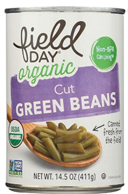 GREEN BEANS, Organic, Field Day, 14.5 oz CAN