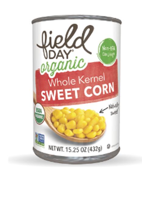 SWEET CORN, Organic, Field Day, 15 oz CAN