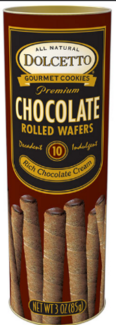 DOLCETTO WAFERS, CHOCOLATE, 3 OZ TIN