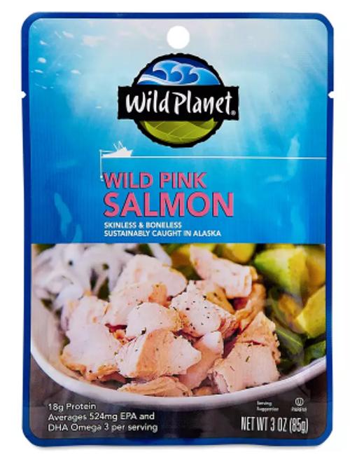 SALMON POUCH, WILD, PINK, Wild Planet, 3 oz