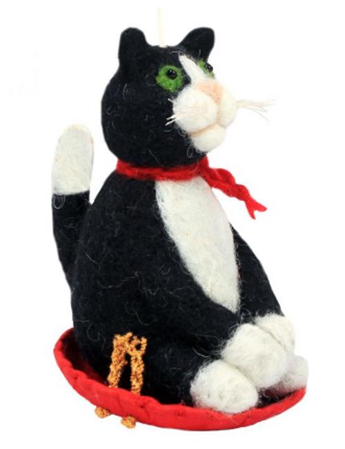 FELT FIGURE - SLEDDING KITTY CAT, Tibet Collection