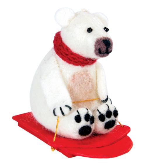 FELT FIGURE - SLEDDING POLAR BEAR, Tibet Collection - Each