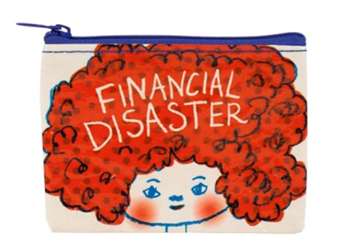 COIN PURSE, FINANCIAL DISASTER, Blue Q - Each