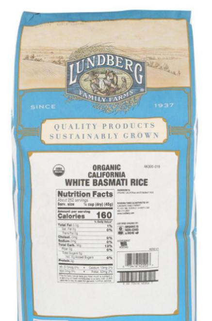 RICE, WHITE BASMATI, ORGANIC, Lundberg, 10 lbs