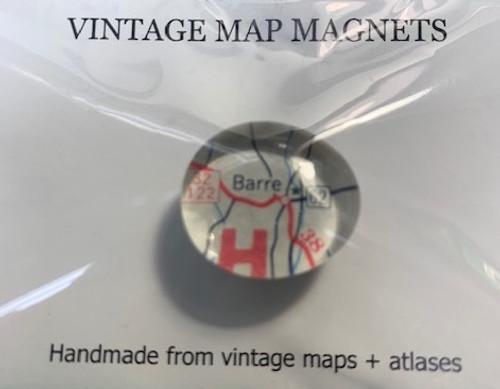 """MAGNET, VINTAGE Map, Barre - 3/4"""" diameter"""