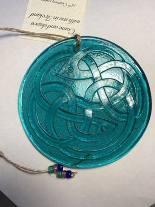 SUNCATCHER, BLUE CELTIC FISH KNOT, Aurora Glass - 4.25""
