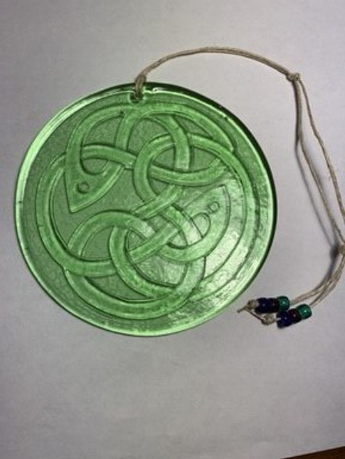 SUNCATCHER, GREEN CELTIC FISH KNOT, Aurora Glass - 4.25""