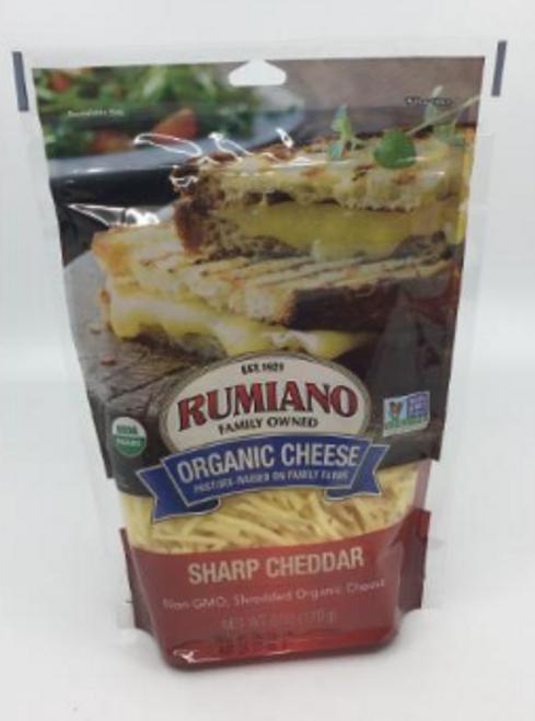 CHEDDAR, SHARP, Shredded Organic, Rumiano, 6 oz