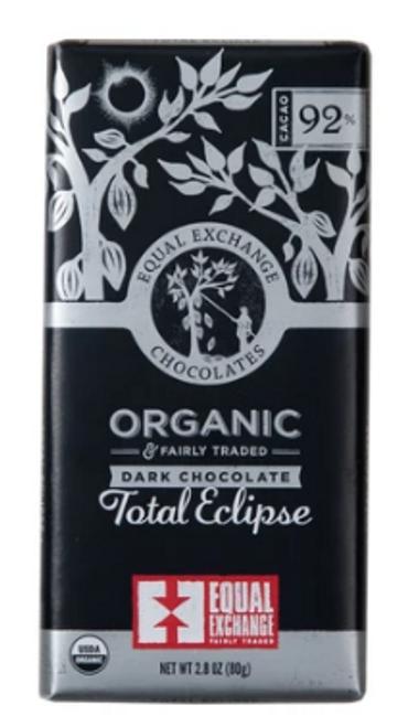*NEW* BAR, DARK CHOCOLATE (92%), TOTAL ECLIPSE, Organic, Equal Exchange, 2.8 OZ