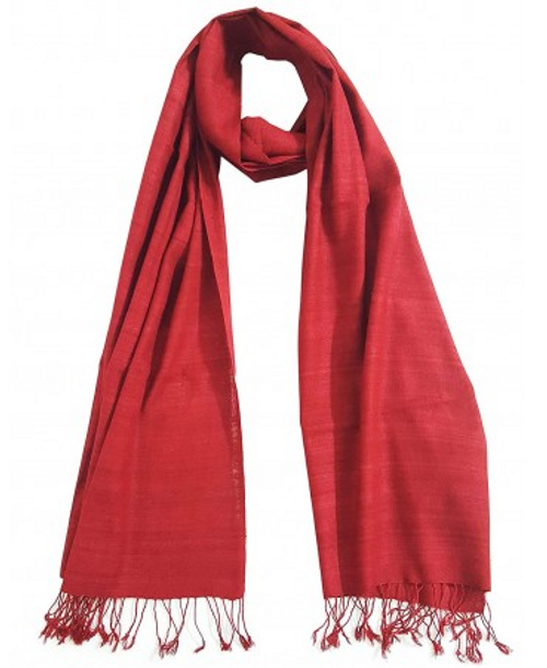 SCARF, ORGANIC ERI SILK, RED, Sustainable Threads - India