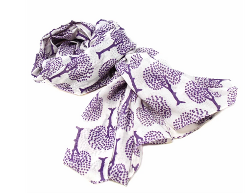SCARF, COTTON, Global Crafts - PURPLE/WHITE TREE OF LIFE