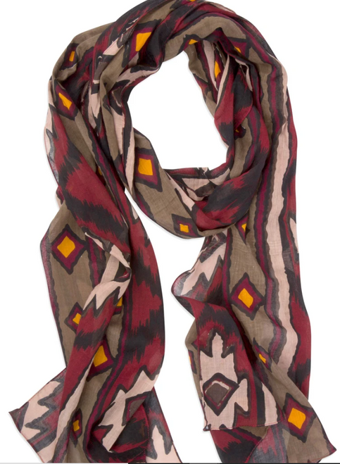 SCARF, COTTON, Global Crafts - MULTICOLOR TRIBAL DESIGN