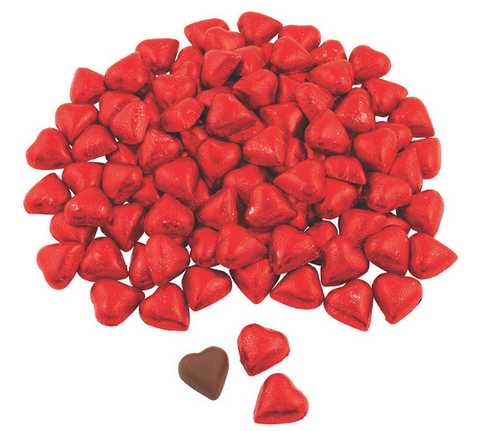 CANDY, RED FOIL HEARTS, MILK CHOCOLATE, Thompson Chocolate - 1/4 lb