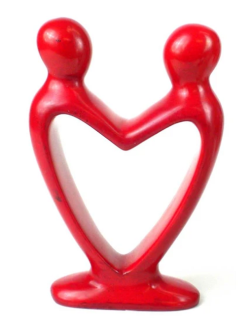 SOAPSTONE SCULPTURE, LOVERS HEART, Kenya -  4 Inches