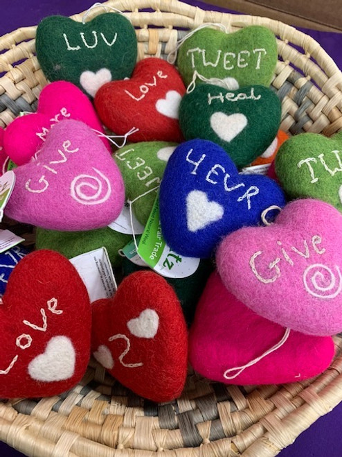 HEARTS, *SALE* FELT VALENTINES, Fair-Trade Nepal, DZI  - EACH