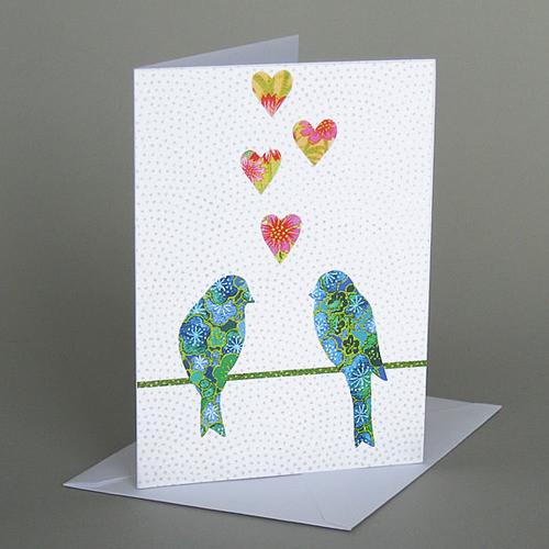 Card Lovebirds Carve Designs