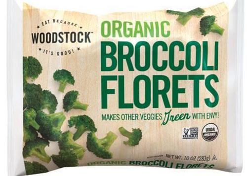 BROCCOLI FLORETS, Organic, Frozen, Woodstock, 10 oz