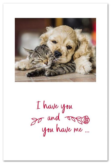 CARD Valentine Snuggling Dog & Cat