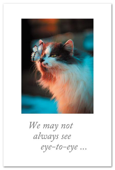 CARD Friendship Cat & Butterfly eye-to-eye  Cardthartic