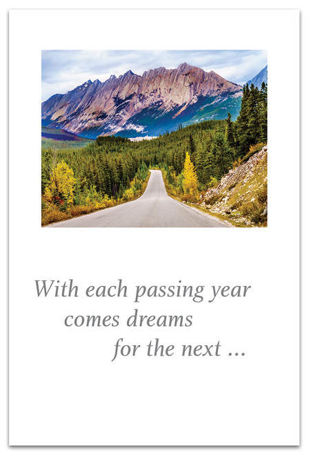 CARD Happy Birthday Road to Mountain Range   Cardthartic