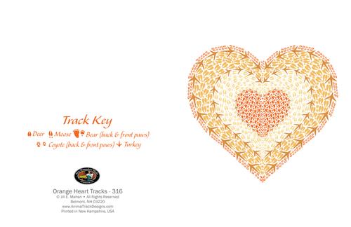 CARD Orange Heart Animal Tracks