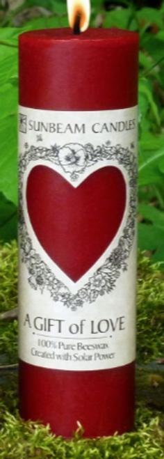 """CANDLE- LOVE PILLAR-BEESWAX, Sunbeam Candles, 2"""" x 6.25"""""""