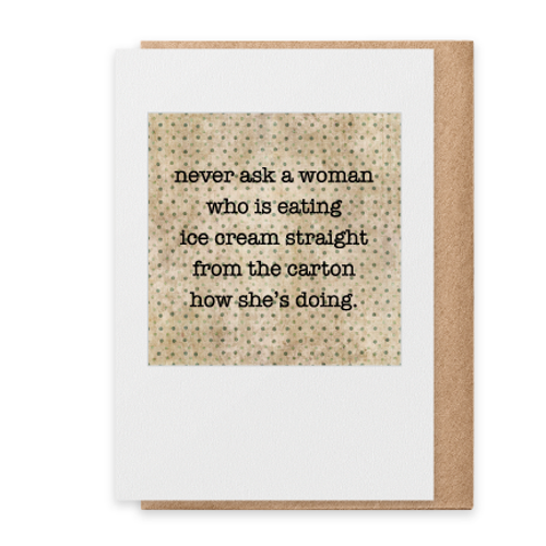 Card  never ask a woman  Paisley & Parsley