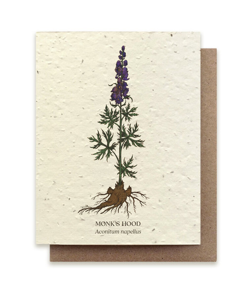 Card, plantable paper,  Monk's Hood,  The Bower Studio