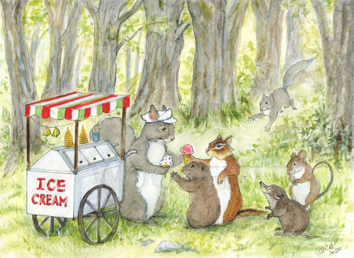 Card, Ice Cream Cart,   Woodfield Press