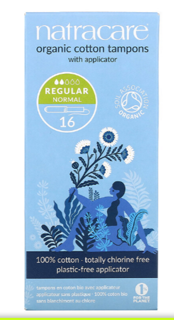 TAMPONS, REGULAR WITH APPLICATOR, Natracare, 16 count