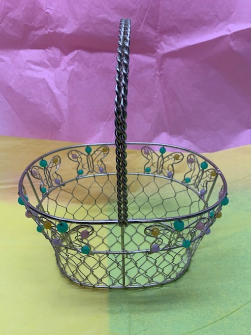 BASKET, WIRE WITH COLORED BEADS