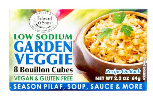 BOUILLON CUBES, VEGGIE, Gluten-Free, Low Salt, Edward & Sons, 2.2 OZ