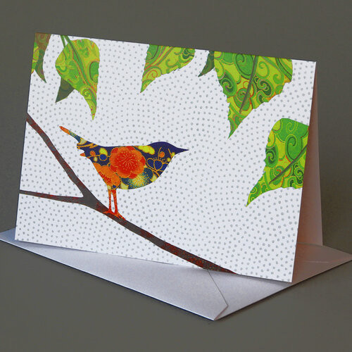 CARD bird in birch tree  Carve Designs