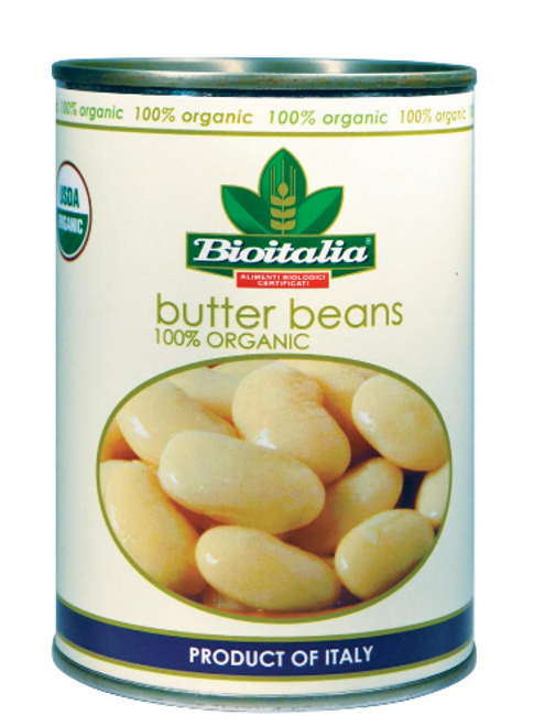 BEANS, BUTTER BEANS, No Added Salt, Organic, Bioitalia- 14 oz can