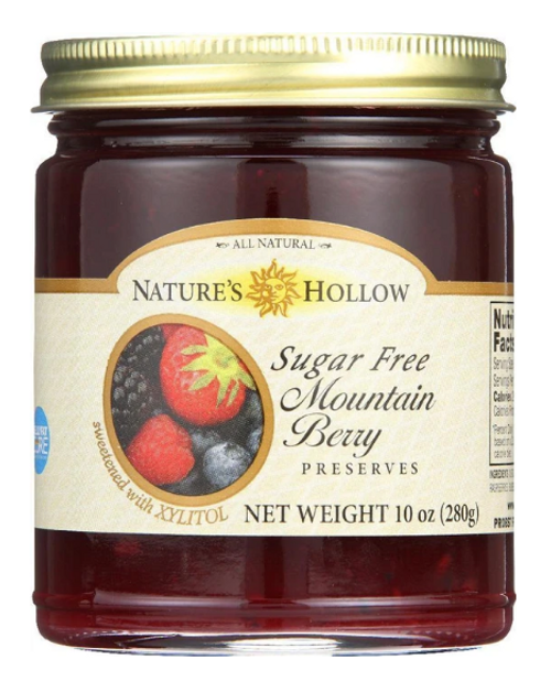JAM, MOUNTAIN BERRY, Sugar-Free,  Nature's Hollow - 10 oz glass jar