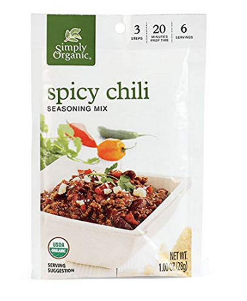 CHILI MIX,  Spicy, Simply Organic, 1 oz dry mix