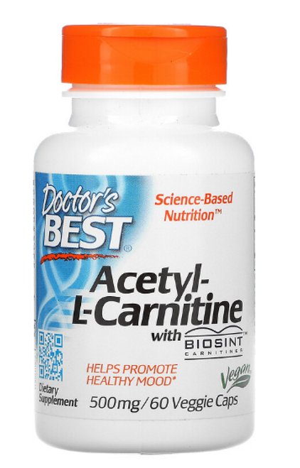 ACETYL-L-CARNITINE, Doctor's Best, 500 mg, 60 vcaps