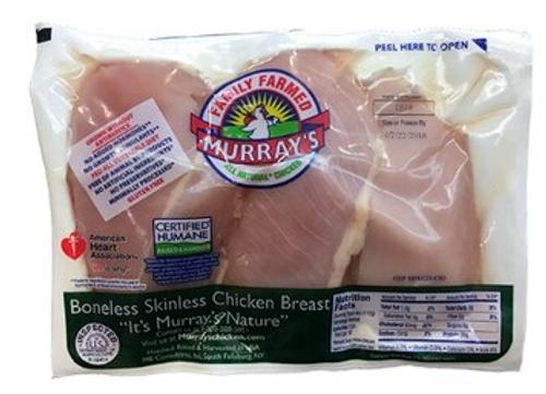 CHICKEN BREAST - BONELESS, SKINLESS, Certified Humane, Murray's - $12.82/lb