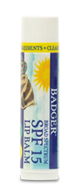 LIP BALM, SPF 15, Unscented Lip Balm, Badger -  .15 fl oz