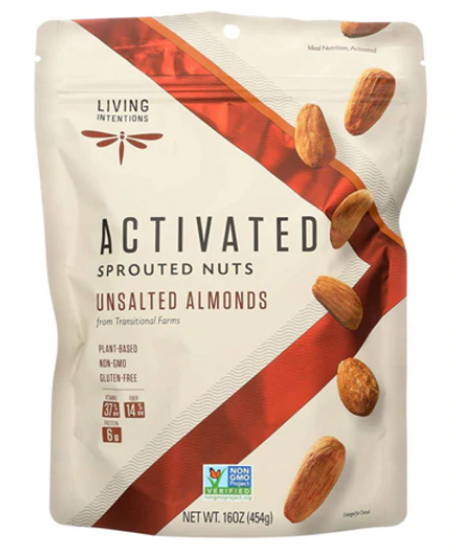 ALMONDS, SPROUTED, G/F, non-GMO, Living Intentions - 16 oz